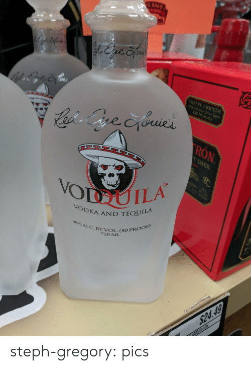 proof: E ROAD  l&ve Cyou  COFFEE LIQUEUR  Mlewit Sier Patrn Teila  WDE AGAVE  Cacis Gre cyouies  RON  E DARK  B  TM  10  VODUILA  POOP  VODKA AND TEQUILA  40% ALC.BY VOL. (80 PROOF)  7SO ML  $24.49  VODOUILA So steph-gregory:  pics
