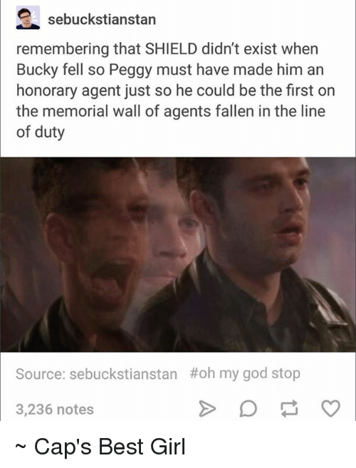Girls, God, and Avengers: e sebuckstianstan  remembering that SHIELD didn't exist when  Bucky fell so Peggy must have made him an  honorary agent just so he could be the first on  the memorial wall of agents fallen in the line  of duty  Source: sebuckstianstan Hoh my god stop  3,236 notes ~ Cap's Best Girl ☆☆