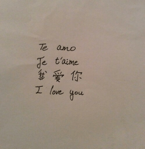 Love, I Love You, and You: e t'aime  t、爱你  I love you