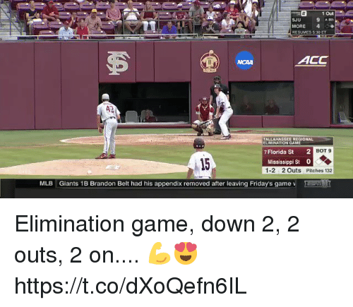 Mississippi: E1 Out  SJU  MORE 4  RESUMES 5:30 ET  ACC  NCAA  43  TALLAHASSEE RECIONAL  ELIMISATİON GAME  7Florida St  2  BOT 9  15  Mississippi St 0  1-2 2Outs Pitches 132  MLB  Giants 1B Brandon Belt had his appendix removed after leaving Friday's game v Elimination game, down 2, 2 outs, 2 on.... 💪😍 https://t.co/dXoQefn6IL
