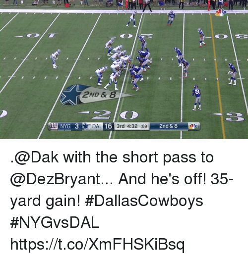 Passe: E4  2ND &8  NYG 3  DAL 16 3rd 4:32 :09  2nd & 8 .@Dak with the short pass to @DezBryant... And he's off!  35-yard gain! #DallasCowboys #NYGvsDAL https://t.co/XmFHSKiBsq