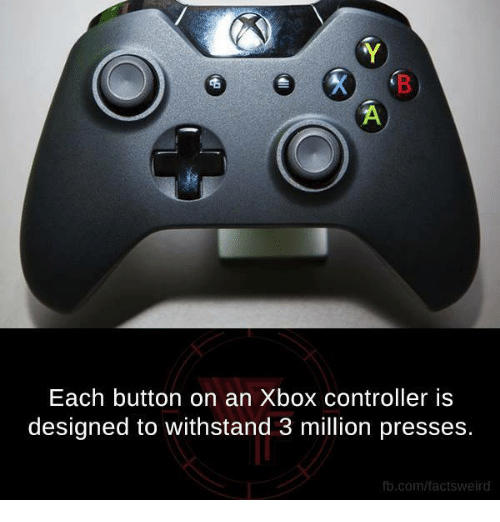 Withstanded: Each button on an Xbox controller is  designed to withstand 3 million presses.  fb.com/factsweird