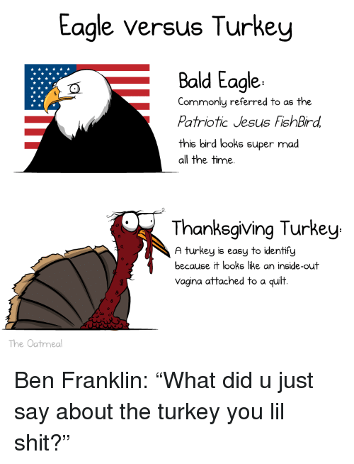 Ben Franklin, Inside Out, and Jesus: Eagle versus Turkey  Bald Eagle  Commonly referred to as the  Patriotic Jesus FishBird  this bird looks super mad  all the time  Thanksgiving Turkey  A turkey is easy to identify  because it looks like an inside-out  Vagina attached to a quilt  The Oatmeal <p>Ben Franklin: &ldquo;What did u just say about the turkey you lil shit?&rdquo;</p>