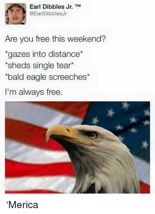 "sheds: Earl Dibbles Jr. TM  @EarlDibblesJr  Are you free this weekend?  ""gazes into distance  *sheds single tear*  bald eagle screeches*  I'm always free. 'Merica"