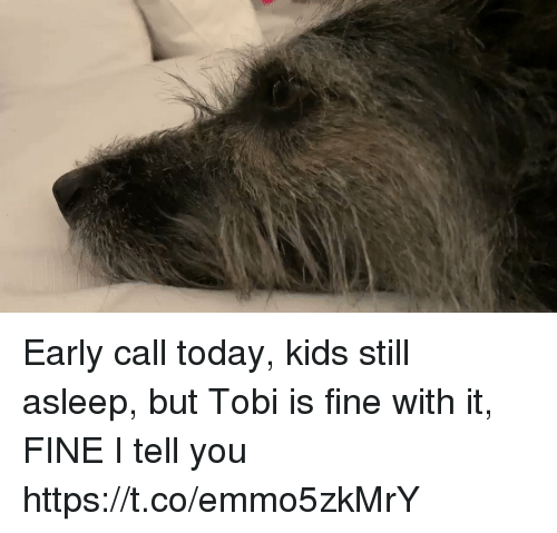 Memes, Kids, and Today: Early call today, kids still asleep, but Tobi is fine with it, FINE I tell you https://t.co/emmo5zkMrY