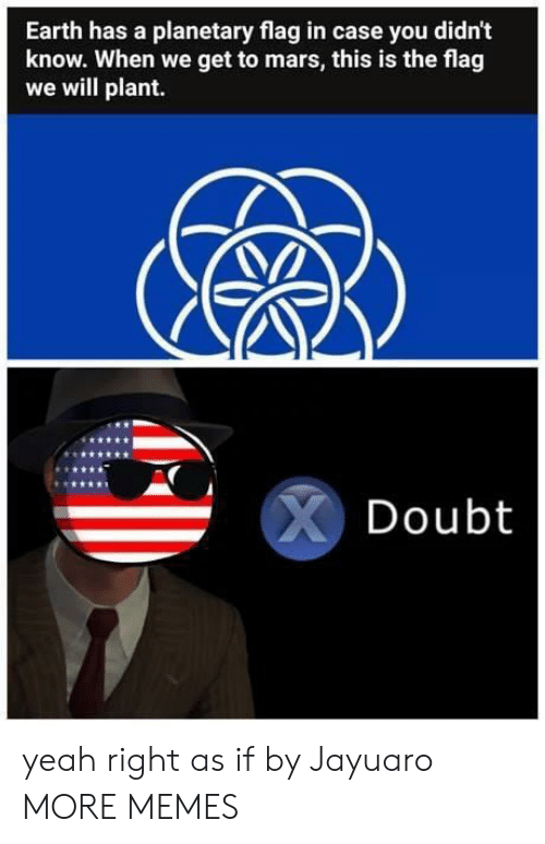yeah right: Earth has a planetary flag in case you didn't  know. When we get to mars, this is the flag  we will plant.  Doubt yeah right as if by Jayuaro MORE MEMES
