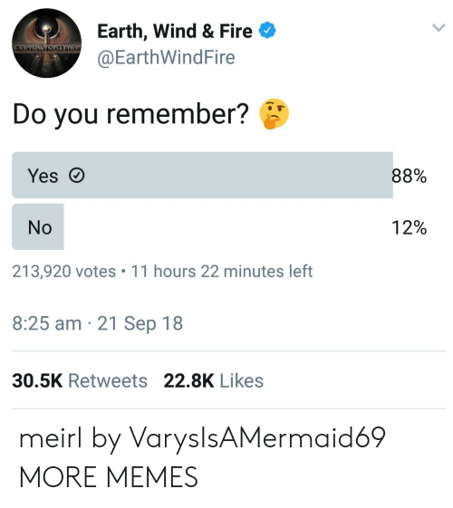 Dank, Fire, and Memes: Earth, Wind & Fire  @EarthWindFire  WIND&SIRE  Do you remember?  88%  Yes  12%  No  213,920 votes 11 hours 22 minutes left  8:25 am 21 Sep 18  30.5K Retweets 22.8K Likes meirl by VarysIsAMermaid69 MORE MEMES