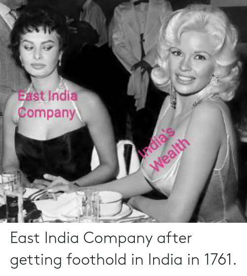 India: East India Company after getting foothold in India in 1761.