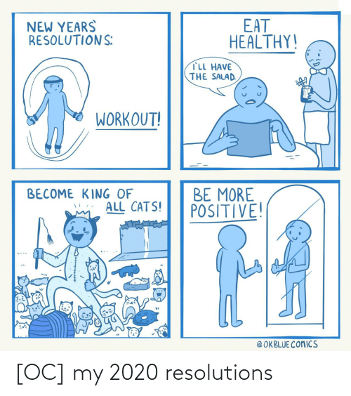 Cats: EAT  HEALTHY!  NEW YEARS  RESOLUTIONS:  TLL HAVE  THE SALAD.  WORKOUT!  BE MORE  POSITIVE!  BECOME KING OF  ALL CATS!  @ OKBLUE COMICS [OC] my 2020 resolutions