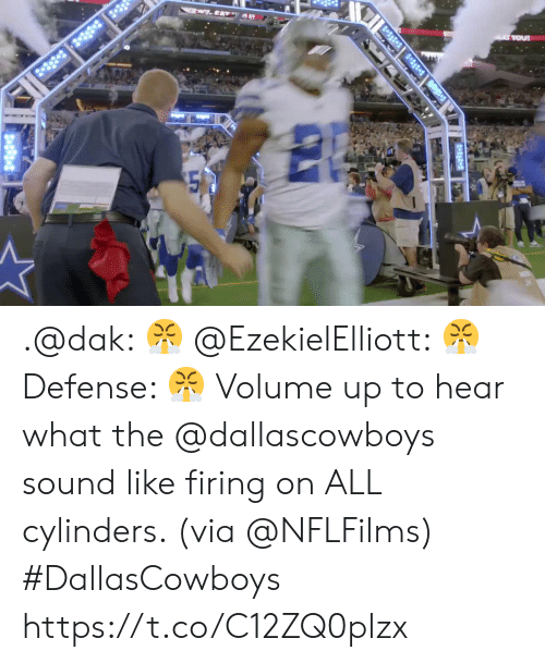 Dallascowboys: ..EATY A  2-38 3 8  A YOU .@dak: 😤 @EzekielElliott: 😤 Defense: 😤  Volume up to hear what the @dallascowboys sound like firing on ALL cylinders. (via @NFLFilms) #DallasCowboys https://t.co/C12ZQ0plzx