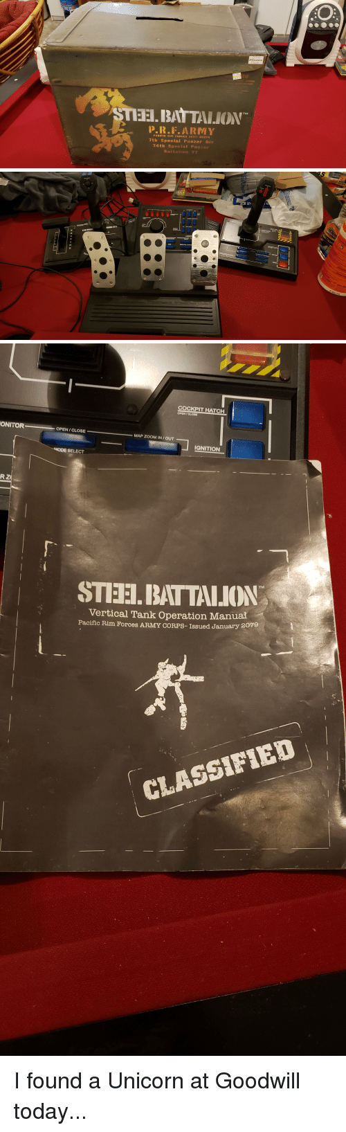 classified: EBGAMES  STEEI. BAT TALION  P.R.F.ARMY  PACIFIC RI FORCES ARMY CORPS  7th Special Panzer Div  34t:h Special Panzer  B a   AIGHT BLOC  5  CENT  3  SUB  MAGAZINE CHANG   COCKPIT HATCH  OPEN/CLOSE  ONITOR  OPEN/CLOSE  MAP ZOOM IN/OUT  IGNITION  SELECT  STIEH.BATTALION  Vertical Tank Operation Manual  Pacific Rim Forces ARMY CORPS-Issued January  2079  翥.  CLASSIFIED I found a Unicorn at Goodwill today...