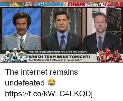 Football, Internet, and Nfl: ECHHARGERCHIEFS  FIRST TAKE PRESENTED BY BASS PRO SHOPS AND CABELA'S  WHICH TEAM WINS TONIGHT?  Week 15: Chargers (10-3) at Chiefs (11-2) - Tonight, 8:20 ET The internet remains undefeated 😂https://t.co/kWLC4LKQDj