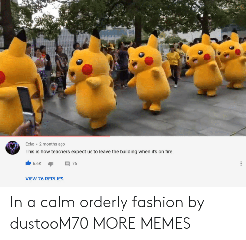 Its On: Echo 2 months ago  This is how teachers expect us to leave the building when it's on fire.  6.6K  76  VIEW 76 REPLIES In a calm orderly fashion by dustooM70 MORE MEMES
