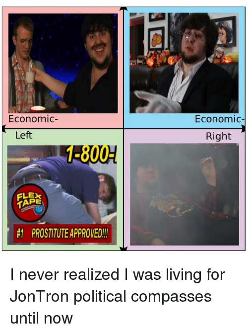 jontron: Economic-  Economic  Left  Right  1-800-  TAPE  #1  PROSTITUTEAPPROVED!! <p>I never realized I was living for JonTron political compasses until now</p>