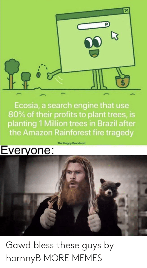 Amazon, Dank, and Fire: Ecosia, a search engine that use  80% of their profits to plant trees, is  planting 1 Million trees in Brazil after  the Amazon Rainforest fire tragedy  The Happy Broadcast  Everyone: Gawd bless these guys by hornnyB MORE MEMES