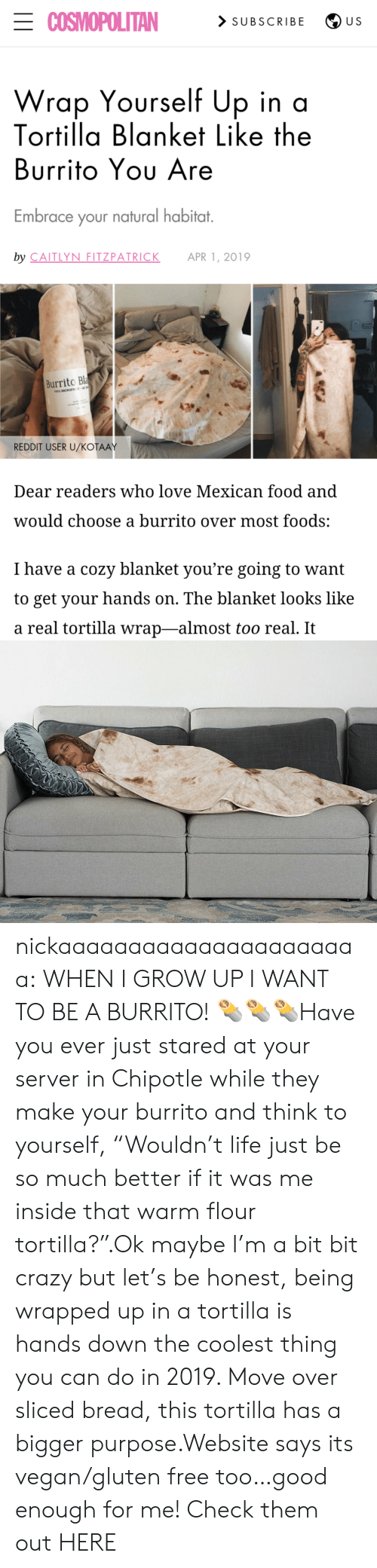 "server: ECOSMOPOLITAN  > SUBSCRIBE  U S  Wrap Yourself Up in a  Tortilla Blanket Like the  Burrito Yου Are  Embrace your natural habitat.  by CAITLYN FITZPATRICK  APR 1, 2019  Burrito Bla  100% MICROFE  REDDIT USER U/KOŤAAY  Dear readers who love Mexican food and  would choose a burrito over most foods:  I have a cozy blanket you're going to want  to get your hands on. The blanket looks like  a real tortilla wrap-almost too real. It nickaaaaaaaaaaaaaaaaaaaaaa:  WHEN I GROW UP I WANT TO BE A BURRITO! 🌯🌯🌯Have you ever just stared at your server in Chipotle while they make your burrito and think to yourself, ""Wouldn't life just be so much better if it was me inside that warm flour tortilla?"".Ok maybe I'm a bit bit crazy but let's be honest, being wrapped up in a tortilla is hands down the coolest thing you can do in 2019. Move over sliced bread, this tortilla has a bigger purpose.Website says its vegan/gluten free too…good enough for me! Check them out HERE"