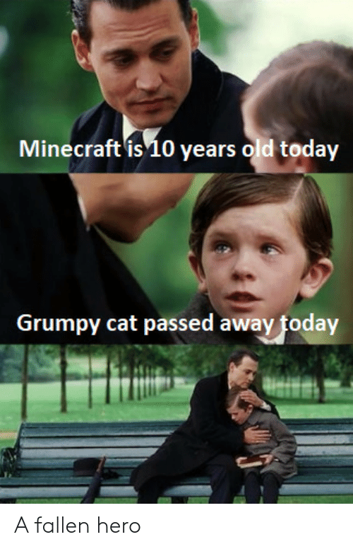 Grumpy Cat: ecraft is 10  Minecraft is10 years old today  Grumpy cat passed away today A fallen hero