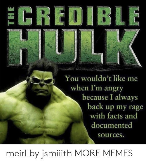 Hulk: ECREDIBLE  HULK  You wouldn't like me  when I'm angry  because I always  back up my rage  with facts and  documented  Sources. meirl by jsmiiith MORE MEMES