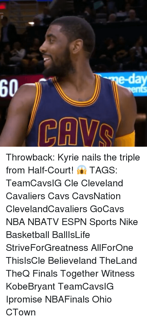 Cavs, Cleveland Cavaliers, and Espn: ed  60  CANVAS  LILI ! Throwback: Kyrie nails the triple from Half-Court! 😱 TAGS: TeamCavsIG Cle Cleveland Cavaliers Cavs CavsNation ClevelandCavaliers GoCavs NBA NBATV ESPN Sports Nike Basketball BallIsLife StriveForGreatness AllForOne ThisIsCle Believeland TheLand TheQ Finals Together Witness KobeBryant TeamCavsIG Ipromise NBAFinals Ohio CTown