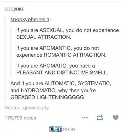 Smell, Asexual, and Spooky: ed cynic:  spooky phernelia:  if you are ASEXUAL, you do not experience  SEXUAL ATTRACTION.  if you are AROMANTIC, you do not  experience ROMANTIC ATTRACTION.  if you are AROMATIC, you have a  PLEASANT AND DISTINCTIVE SMELL.  And if you are AUTOMATIC, SYSTEMATIC,  and HYDROMATIC, why then you're  GREASED LIGHTENINGGGGG  Source: glowcloudy  175,799 notes  KEf Postize