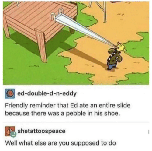 Eddy: ed-double-d-n-eddy  Friendly reminder that Ed ate an entire slide  because there was a pebble in his shoe.  shetattoospeacdodo  Well what else are you supposed to do