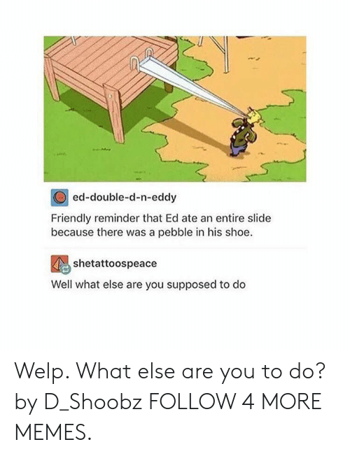 Dank, Memes, and Reddit: ed-double-d-n-eddy  Friendly reminder that Ed ate an entire slide  because there was a pebble in his shoe  shetattoospeace  Well what else are you supposed to do Welp. What else are you to do? by D_Shoobz FOLLOW 4 MORE MEMES.