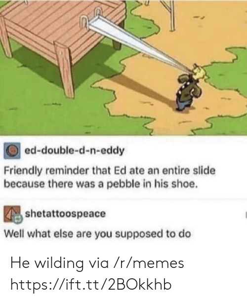 Eddy: ed-double-d-n-eddy  Friendly reminder that Ed ate an entire slide  because there was a pebble in his shoe.  shetattoospeace  Well what else are you supposed to do He wilding via /r/memes https://ift.tt/2BOkkhb