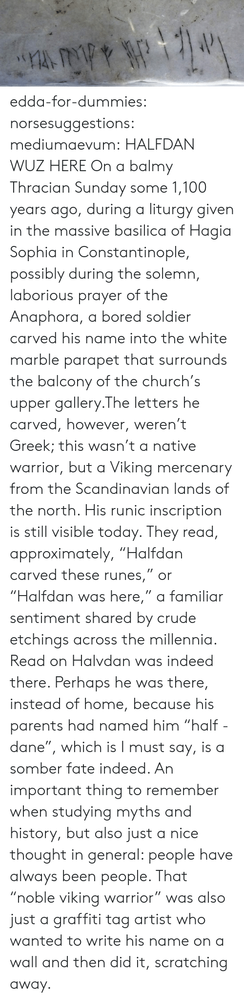 "myths: edda-for-dummies: norsesuggestions:  mediumaevum:  HALFDAN WUZ HERE On a balmy Thracian Sunday some 1,100 years ago, during a liturgy given in the massive basilica of Hagia Sophia in Constantinople, possibly during the solemn, laborious prayer of the Anaphora, a bored soldier carved his name into the white marble parapet that surrounds the balcony of the church's upper gallery.The letters he carved, however, weren't Greek; this wasn't a native warrior, but a Viking mercenary from the Scandinavian lands of the north. His runic inscription is still visible today. They read, approximately, ""Halfdan carved these runes,"" or ""Halfdan was here,"" a familiar sentiment shared by crude etchings across the millennia. Read on  Halvdan was indeed there. Perhaps he was there, instead of home, because his parents had named him ""half - dane"", which is I must say, is a somber fate indeed.   An important thing to remember when studying myths and history, but also just a nice thought in general: people have always been people. That ""noble viking warrior"" was also just a graffiti tag artist who wanted to write his name on a wall and then did it, scratching away."