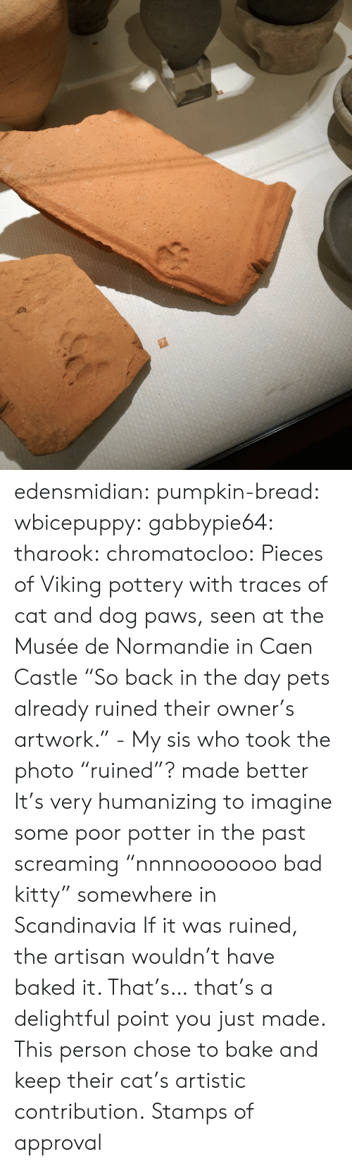 "delightful: edensmidian:  pumpkin-bread:  wbicepuppy:  gabbypie64:  tharook:  chromatocloo:  Pieces of Viking pottery with traces of cat and dog paws, seen at the Musée de Normandie in Caen Castle ""So back in the day pets already ruined their owner's artwork."" - My sis who took the photo   ""ruined""? made better   It's very humanizing to imagine some poor potter in the past screaming ""nnnnooooooo bad kitty"" somewhere in Scandinavia   If it was ruined, the artisan wouldn't have baked it.   That's… that's a delightful point you just made. This person chose to bake and keep their cat's artistic contribution.   Stamps of approval"