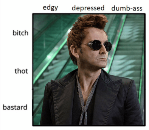 Ass, Bitch, and Dumb: edgy  depressed dumb-ass  bitch  thot  bastard