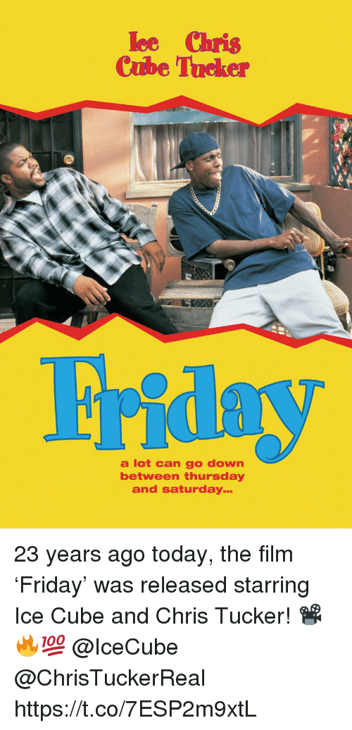 Ice Cube: ee Chris  Cube Tucker  a lot can go down  between thursday  and saturday 23 years ago today, the film 'Friday' was released starring Ice Cube and Chris Tucker! 📽🔥💯 @IceCube @ChrisTuckerReal https://t.co/7ESP2m9xtL
