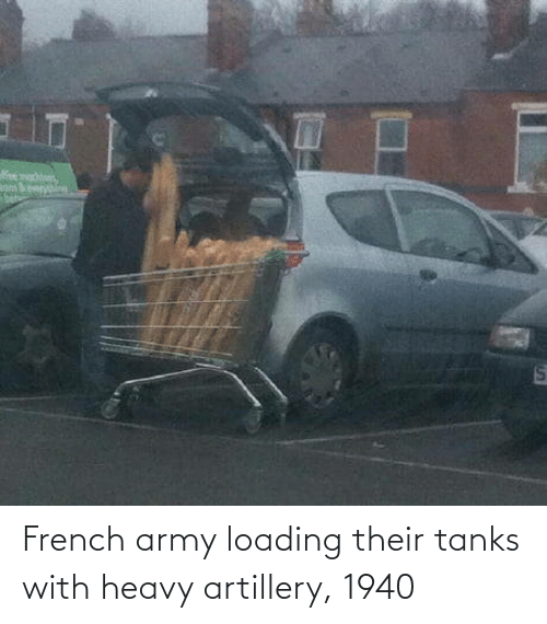 French: eer  %24 French army loading their tanks with heavy artillery, 1940