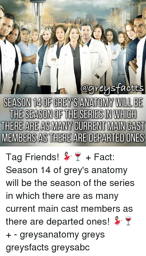 Friends, Memes, and Grey's Anatomy: egreystaotts  SEASON 14 0F GREYS ANATOMY WILL BE  THERE ARE AS MANY CURRENT MAN CAST  MEMBERS AS THERE ARE DEPARTED ONES Tag Friends! 💃🏻🍷 + Fact: Season 14 of grey's anatomy will be the season of the series in which there are as many current main cast members as there are departed ones! 💃🏻🍷 + - greysanatomy greys greysfacts greysabc