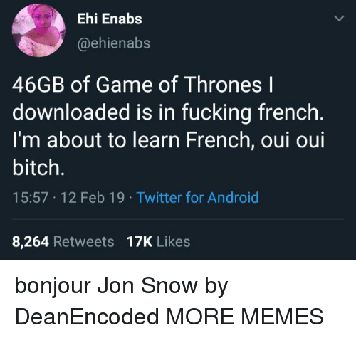 Jon Snow: Ehi Enabs  @ehienabs  46GB of Game of Thrones l  downloaded is in fucking french  I'm about to learn French, oui oui  bitch.  15:57 12 Feb 19 Twitter for Android  8,264 Retweets 17K Likes bonjour Jon Snow by DeanEncoded MORE MEMES
