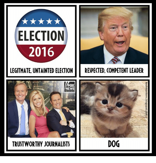 News, Fox News, and Fox: ELECTION  2016  LEGITMATE UNTAINTED ELECTIO  RESPECTED, COMPETENT LEADER  FOX  NEWS  7  21ST  TRUSTWORTHY JOURNALISTS  DOG