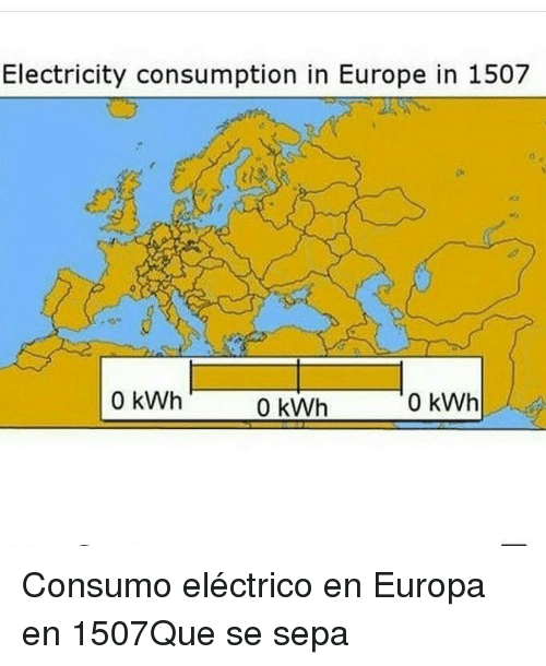 sepa: Electricity consumption in Europe in 1507  0 kWh  0 kWh  0 kWh Consumo eléctrico en Europa en 1507Que se sepa