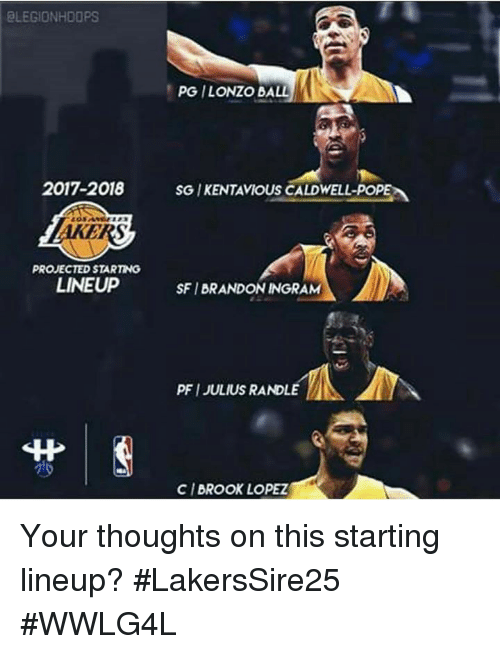poped: ELEGIONHDOPS  PG ILONZO BALL  2017-2018 SG IKENTAVIOUS CALDWELL-POPE  AKERS  PROJECTED STARTING  LINEUP  SFI BRANDON INGRAM  PFI JULIUS RANDLE  丱|  CI BROOK LOPEZ Your thoughts on this starting lineup?  #LakersSire25 #WWLG4L