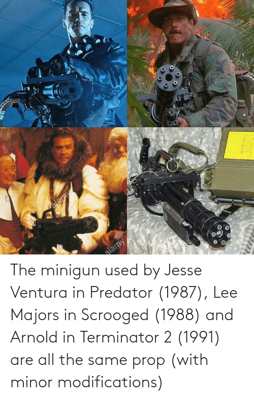 minigun: elemy  a  alamy The minigun used by Jesse Ventura in Predator (1987), Lee Majors in Scrooged (1988) and Arnold in Terminator 2 (1991) are all the same prop (with minor modifications)