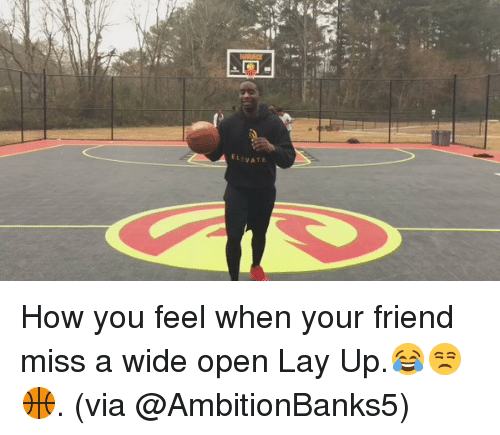 Lay Up, Lay's, and Memes: ELEVATE How you feel when your friend miss a wide open Lay Up.😂😒🏀. (via @AmbitionBanks5)
