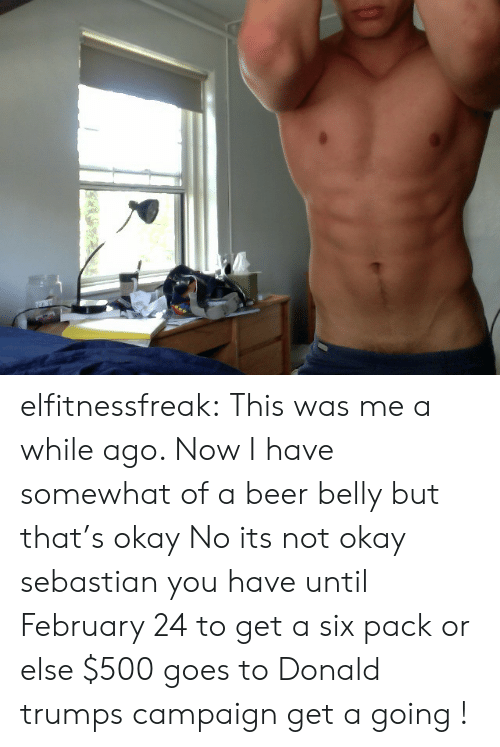 Beer, Tumblr, and Blog: elfitnessfreak:  This was me a while ago. Now I have somewhat of a beer belly but that's okay   No its not okay sebastian you have until February 24 to get a six pack or else $500 goes to Donald trumps campaign get a going !