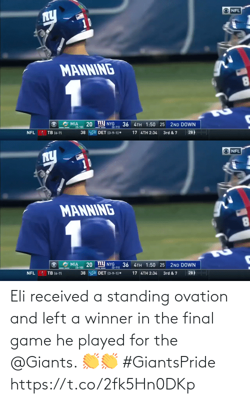 Giants: Eli received a standing ovation and left a winner in the final game he played for the @Giants. 👏👏 #GiantsPride https://t.co/2fk5Hn0DKp