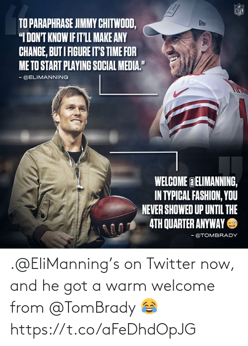 welcome: .@EliManning's on Twitter now, and he got a warm welcome from @TomBrady 😂 https://t.co/aFeDhdOpJG