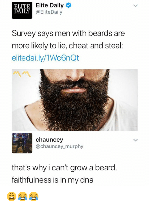 Beard, Dank Memes, and Beards: ELITE  DAILY  Elite Daily  @EliteDaily  Survey says men with beards are  more likely to lie, cheat and steal:  elitedai.ly/1Wc6nQt  chauncey  @chauncey murphy  that's why ican't grow a beard  faithfulness is in my dna 😩😂😂
