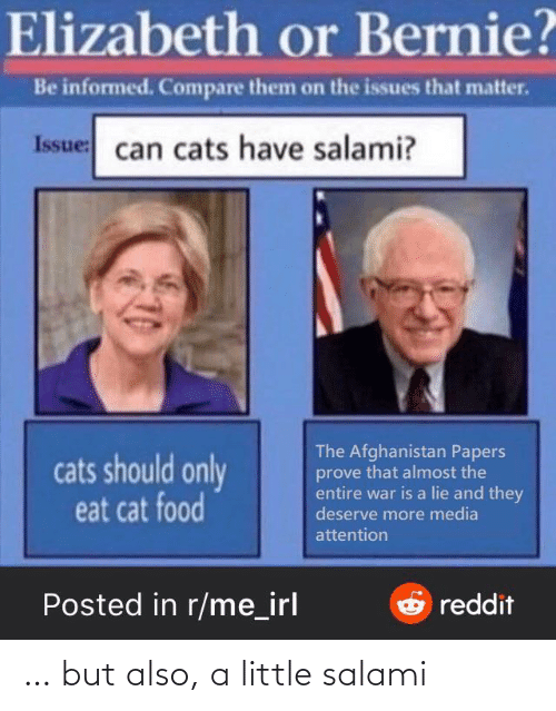 attention: Elizabeth or Bernie?  Be informed. Compare them on the issues that matter.  Issue: can cats have salami?  The Afghanistan Papers  prove that almost the  entire war is a lie and they  deserve more media  cats should only  eat cat food  attention  Posted in r/me_irl  Oreddit … but also, a little salami