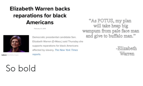 """Elizabeth Warren, New York, and Black: Elizabeth Warren backs  reparations for black  Americans  """"As POTUS, my plan  will take heap big  February 21, 2019  wampum  from pale face man  Democratic presidential candidate Sen and give to buffalo man.""""  59  Elizabeth Warren (D-Mass.) said Thursday she  supports reparations for black Americans  affected by slavery, The New York Times  reports  Elizabeth  Warren  ungfip.com Tama/Getty Images So bold"""