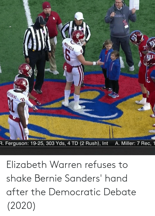 Bernie Sanders: Elizabeth Warren refuses to shake Bernie Sanders' hand after the Democratic Debate (2020)