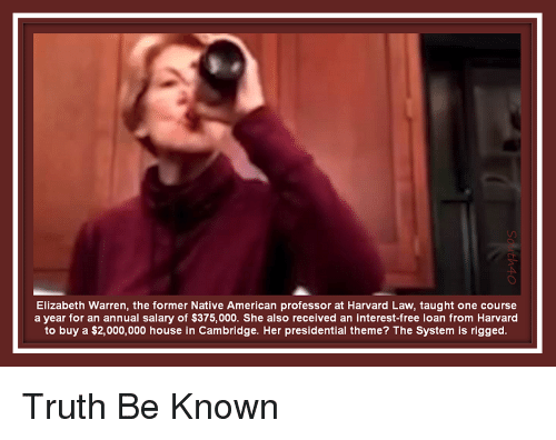 Elizabeth Warren, Native American, and American: Elizabeth Warren, the former Native American professor at Harvard Law, taught one course  a year for an annual salary of $375,000. She also received an interest-free loan from Harvard  to buy a $2,000,000 house in Cambridge. Her presidential theme? The System is rigged