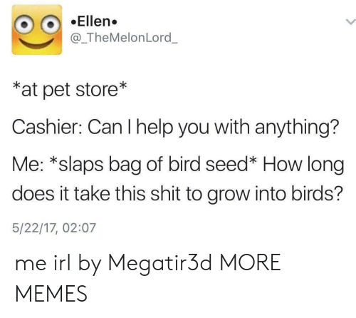 Dank, Memes, and Shit: Ellen.  @_TheMelonLord_  *at pet store*  Cashier: Can I help you with anything?  Me: *slaps bag of bird seed* How long  does it take this shit to grow into birds?  5/22/17, 02:07 me irl by Megatir3d MORE MEMES