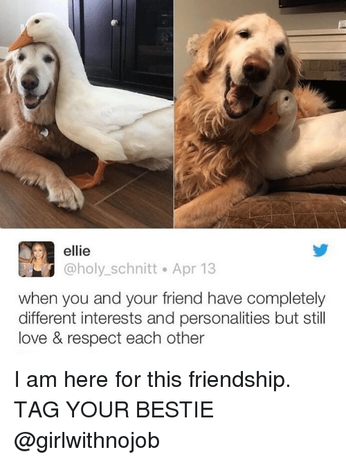 Girlwithnojob: ellie  @holy_schnitt Apr 13  when you and your friend have completely  different interests and personalities but still  love & respect each other I am here for this friendship. TAG YOUR BESTIE @girlwithnojob