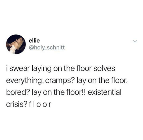 existential crisis: ellie  @holy_schnitt  i swear laying on the floor solves  everything. cramps? lay on the floor.  bored? lay on the floor!! existential  crisis? f loor